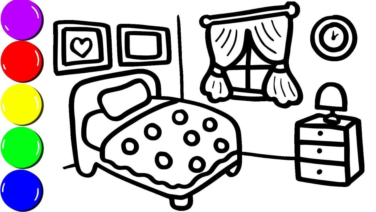 How To Draw A Bedroom For Kids Bedroom Coloring Page For Children With Colorful Water Colors