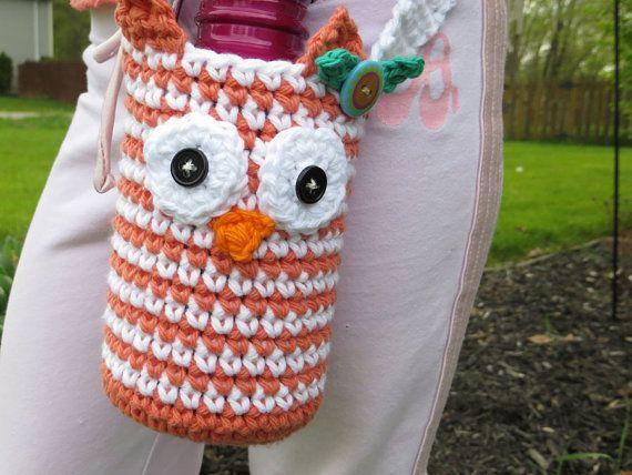 Owl face crochet water bottle holder in orange and by justyarning ...