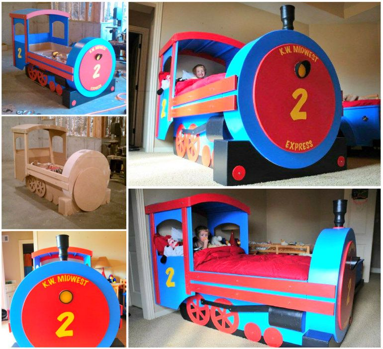 Wonderful diy amazing kids train bed train bed woodworking and room for Toddler train bedroom