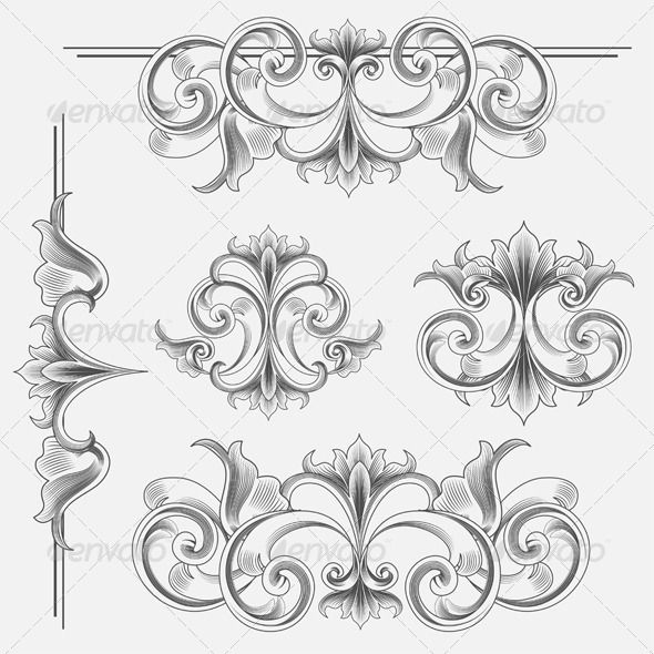 Set Of Victorian Style Decorations Victorian Fashion Art Antique Art