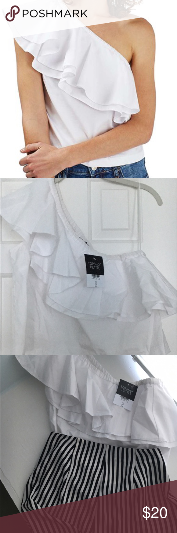 66c7d0697a522 Topshop Poplin Ruffle One-Shoulder Top NWT Purchased on Nordstrom. NWT.  Perfect pairing with shorts in third photo (also selling!) Topshop PETITE  Tops Crop ...
