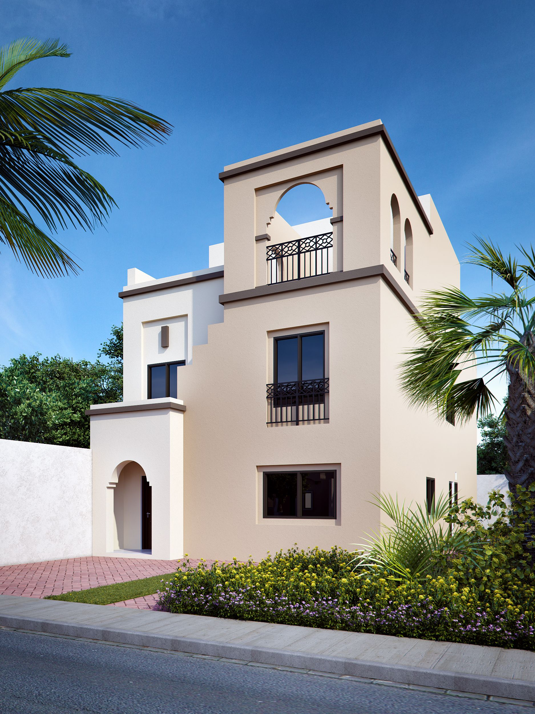 Proposed 3D photo rendering of Arabic style villa
