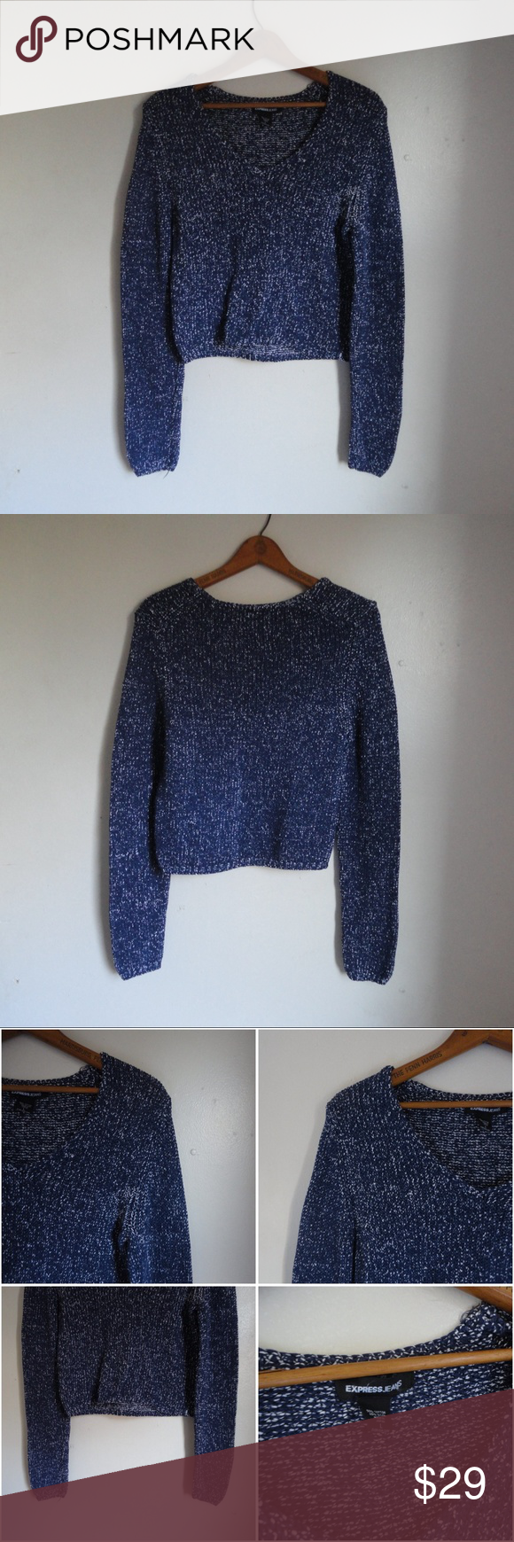 Express Navy Blue White Cropped V Neck Sweater | Winter months ...