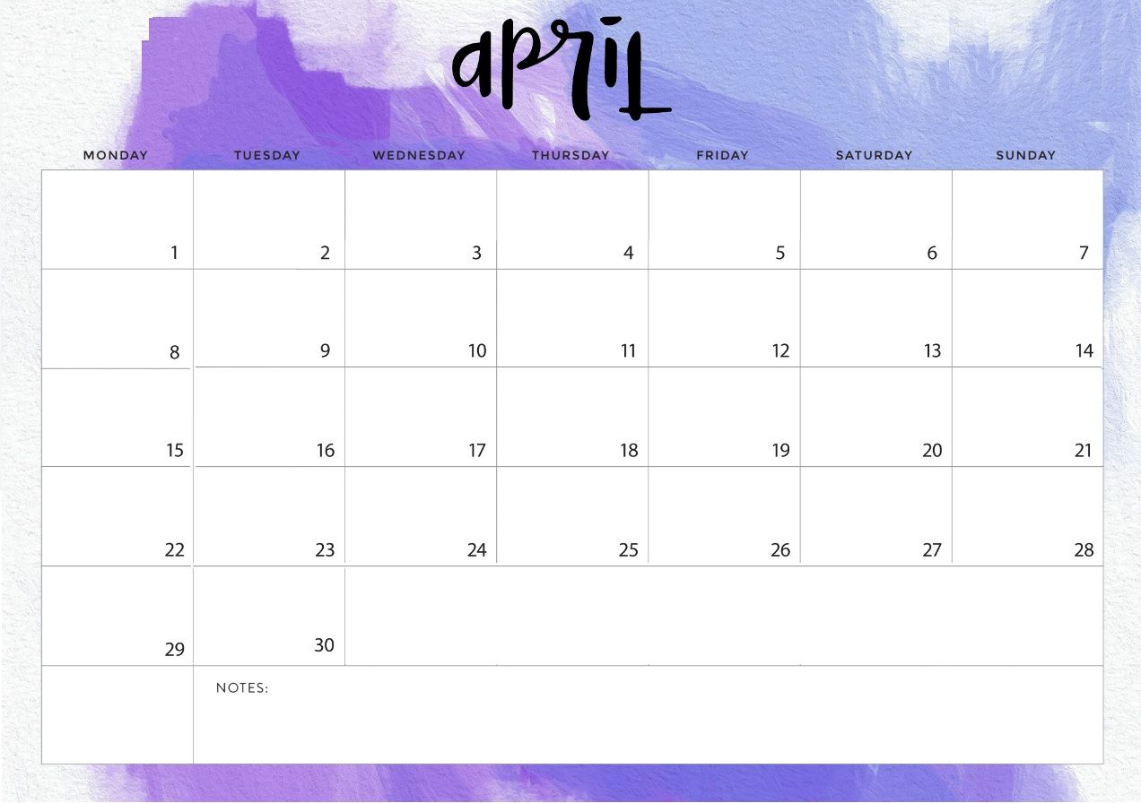 Amazing image intended for april calender printable