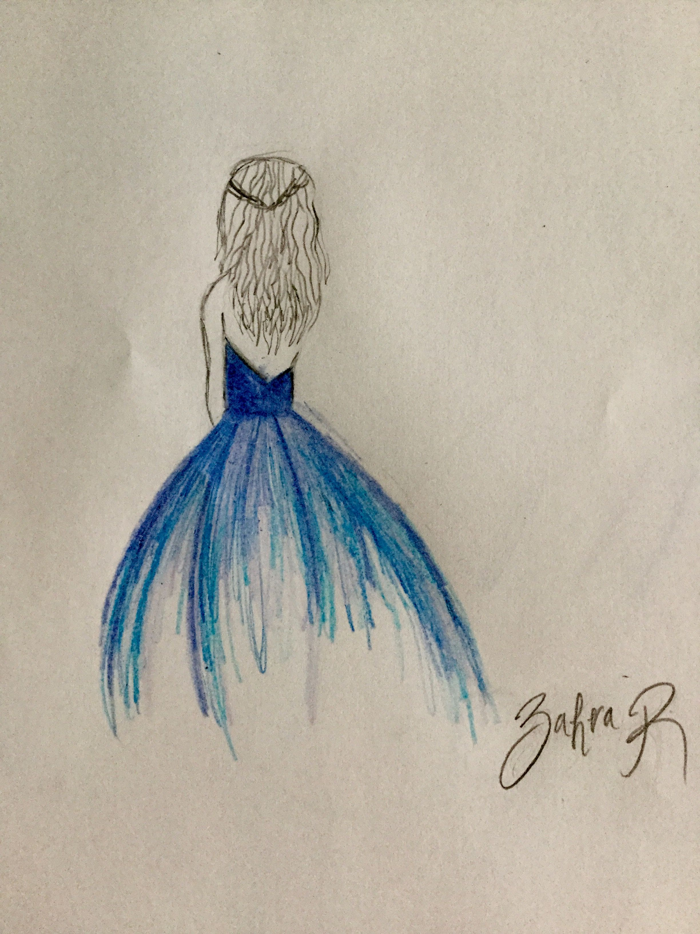 Drawing of a girl Drawing of a dress | Girl drawing ...