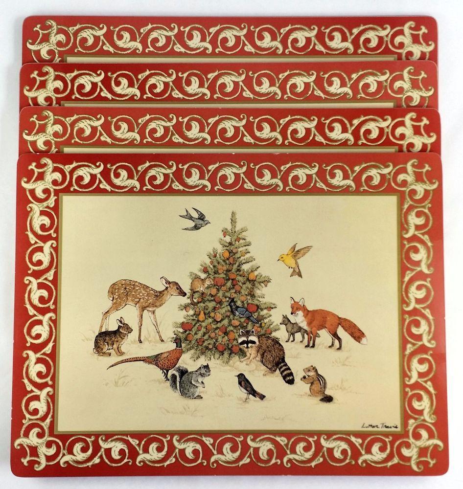 Set Of 4 Fallani Cohn Classic Place Mats Woodland Animals Christmas Cork Back Christmas Placemats Woodland Christmas Placemats