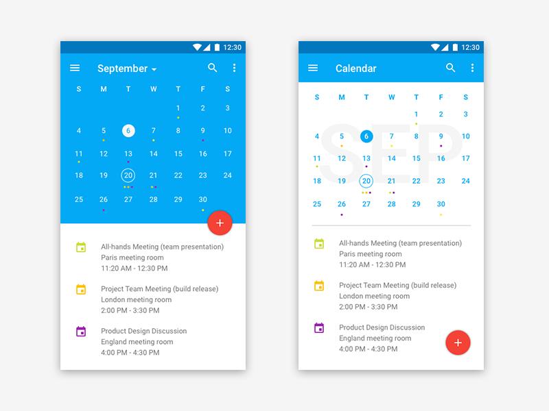 Material Design Calendar by Chen Liu