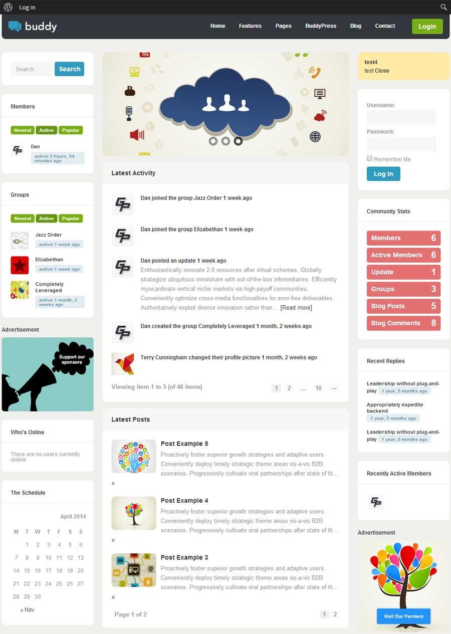 Buddy WordPress BuddyPress Theme | WordPress Themes | Pinterest ...