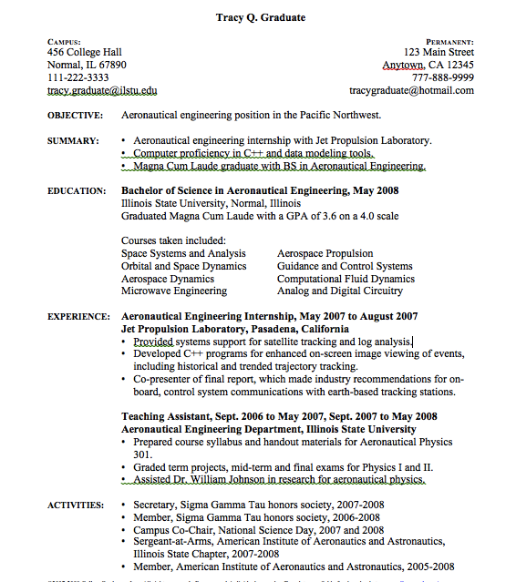 Aeronautical Engineering Resume Sample - http://resumesdesign.com ...