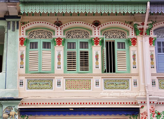 Traditional floral decorations on a shophouse
