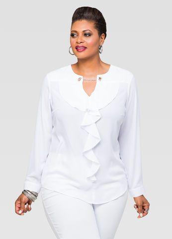 5096c7bb16 Ruffle Chain Neck Blouse | Clothes | Blouse, Plus size blouses, Plus ...