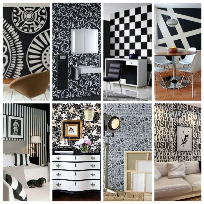 wandgestaltung schwarz weiß bad einrichten collage - wandgestaltung wei braun