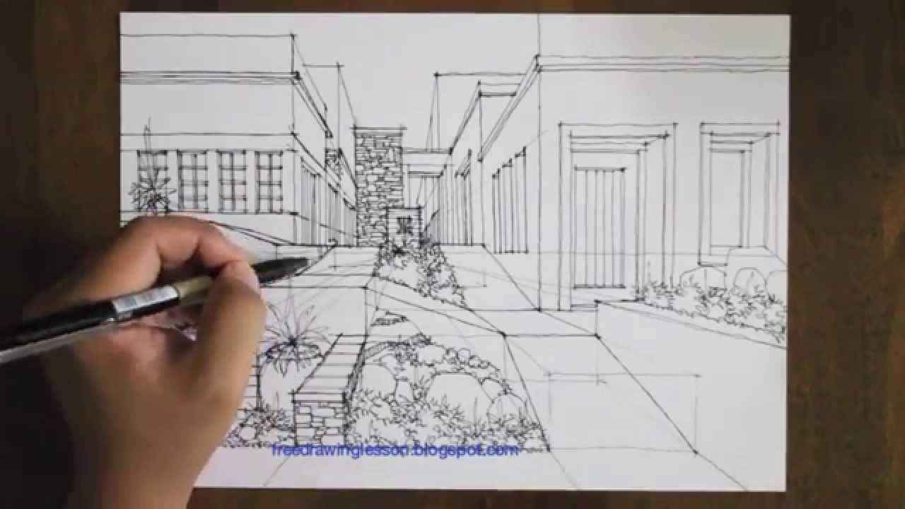 Drawing Lines In Visio : How to draw a garden in one point perspective interior drawings