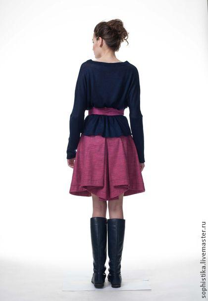 юбка ss13-06/1 - фуксия,юбка,лён,хлопок,юбка в складку,юбка до колена