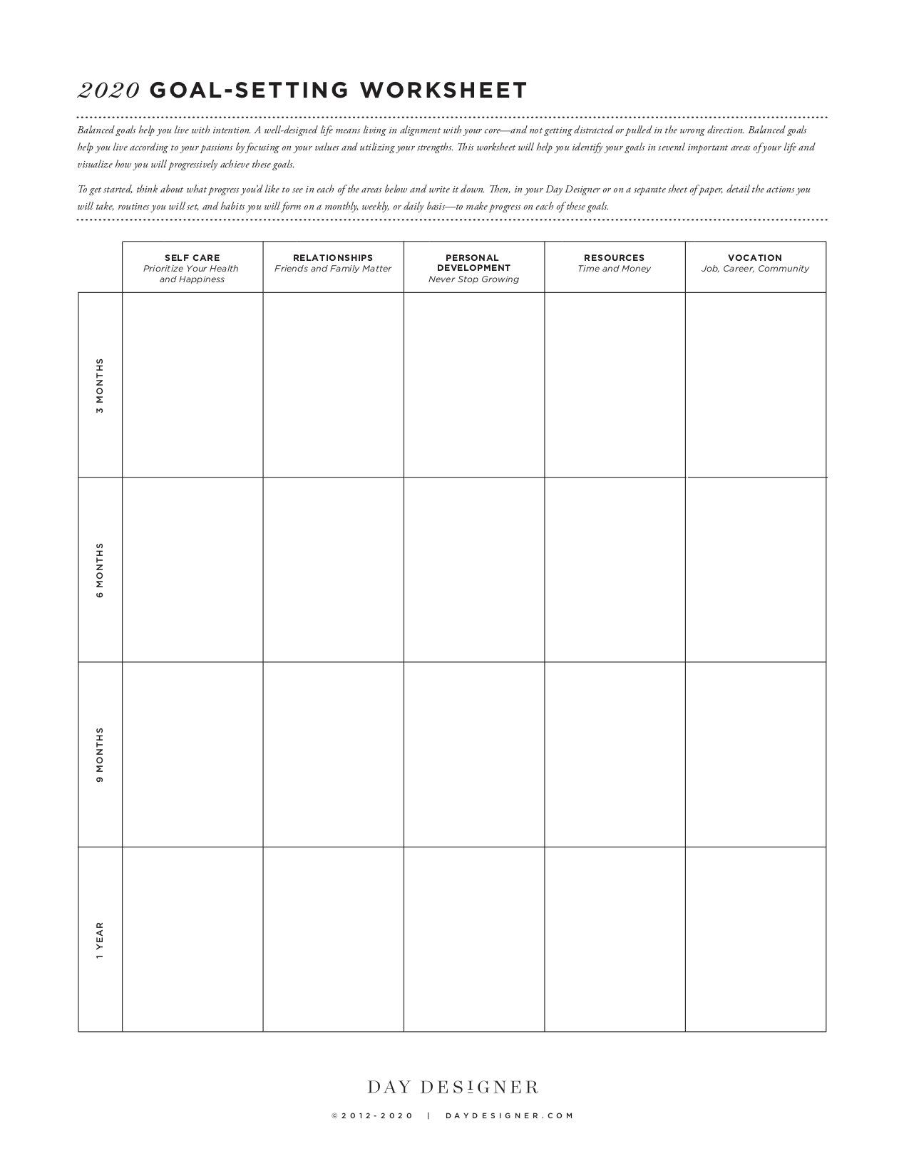 10 Best Goal Setting Worksheets