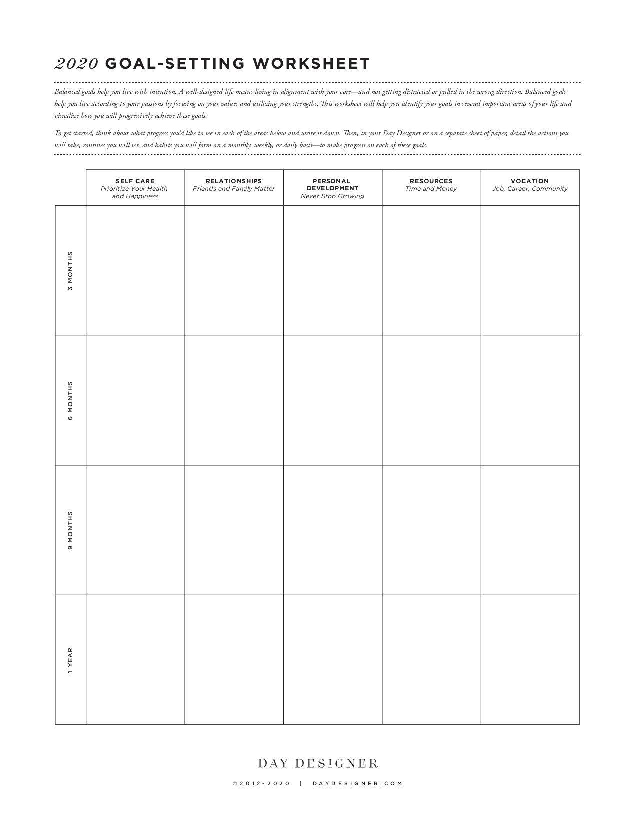 10 Best Goal Setting Worksheets