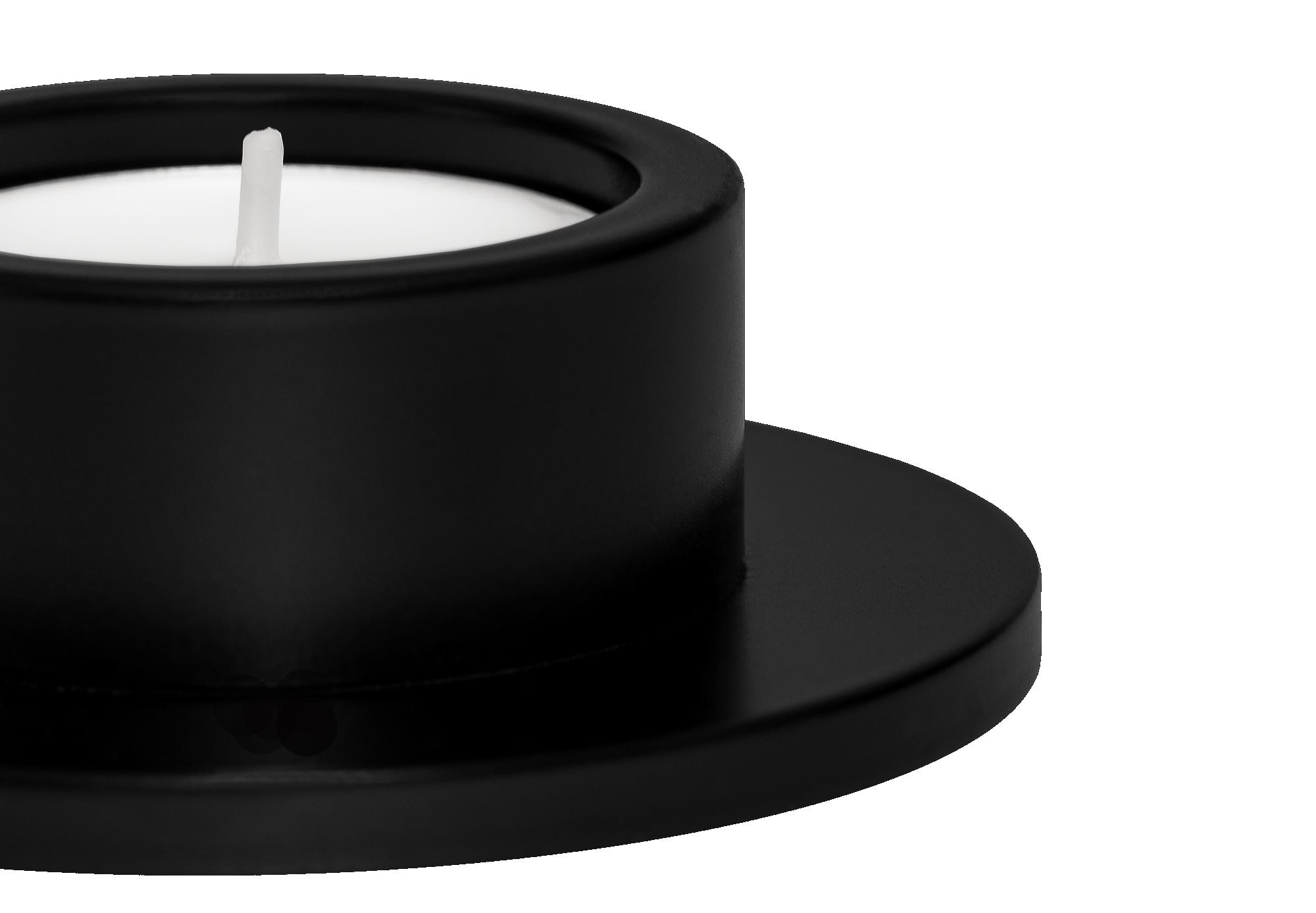 SCHMIDT / Designed by David Spinner / Candle holder close up, powder coated steel, black, size S #out #outgermany #candleholder #kerzenständer #accessoire #powdercoated #pulverbeschichtet #objekteunserertage #decoration