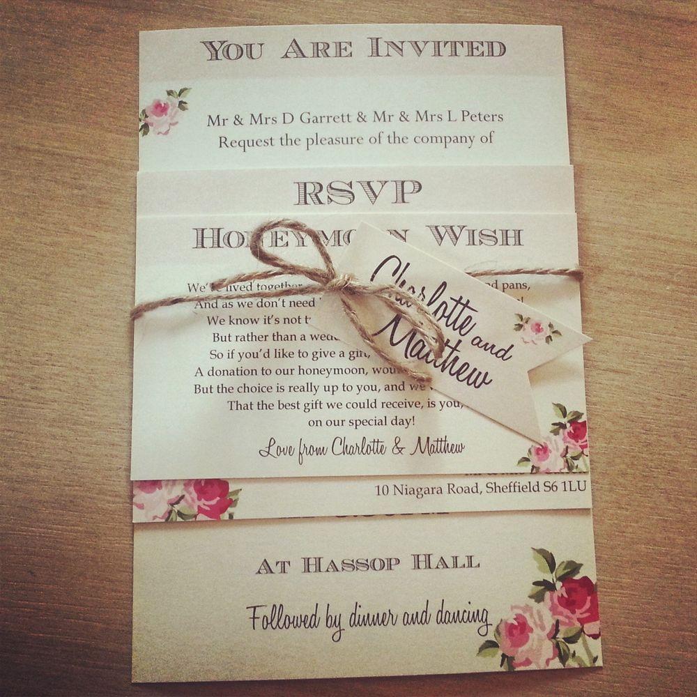 1 Vintage /Shabby Chic Style \'Charlotte\' wedding invitation ...