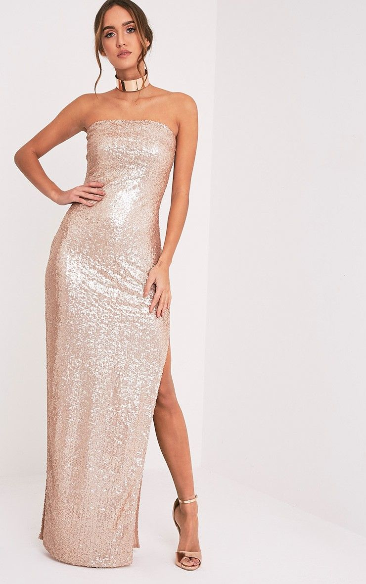 Rose Gold Bandeau Sequin Maxi DressWork some serious party vibes ...