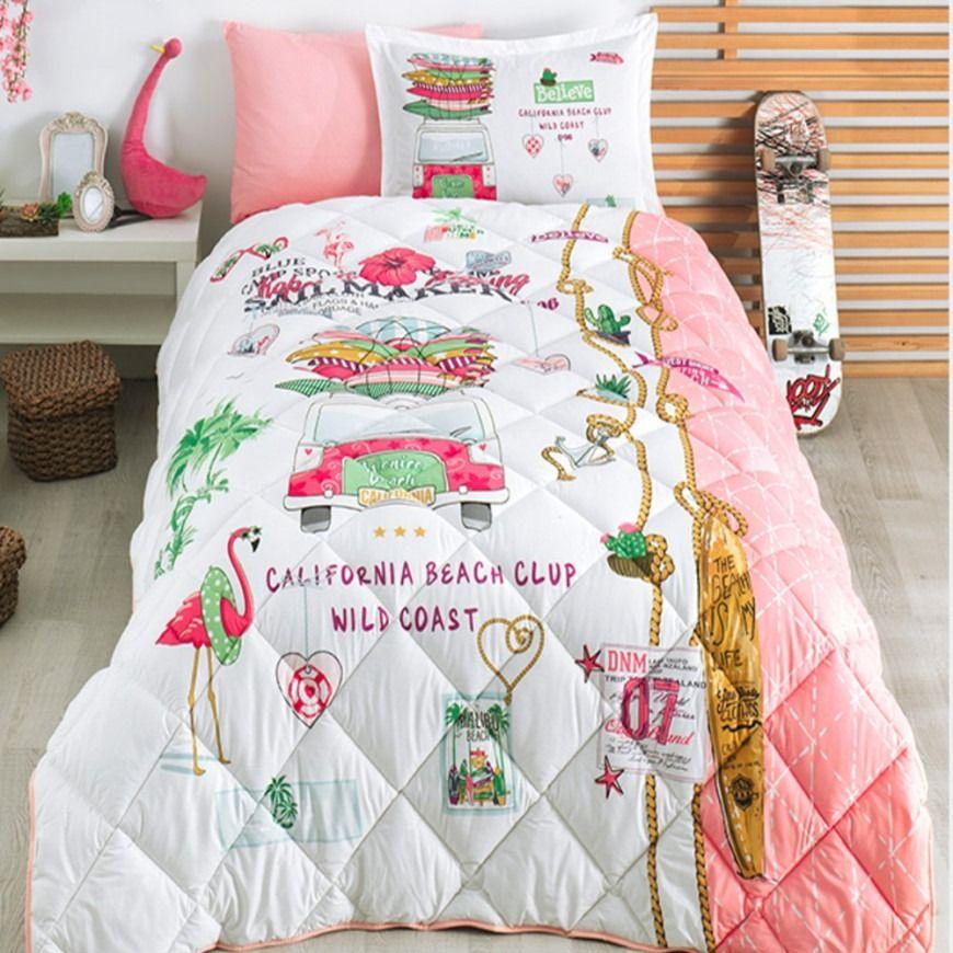 مفرش سرير ألوها أطفال صيفي مفرد ونص أبيض و وردي عدد القطع 4 Summer Bedding Bed Aloha Summer