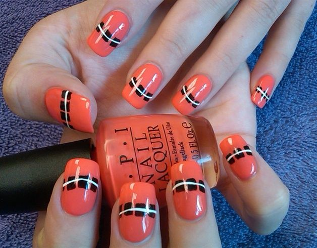coral with black blocks nail art design | Manis 2 try - Color block ...