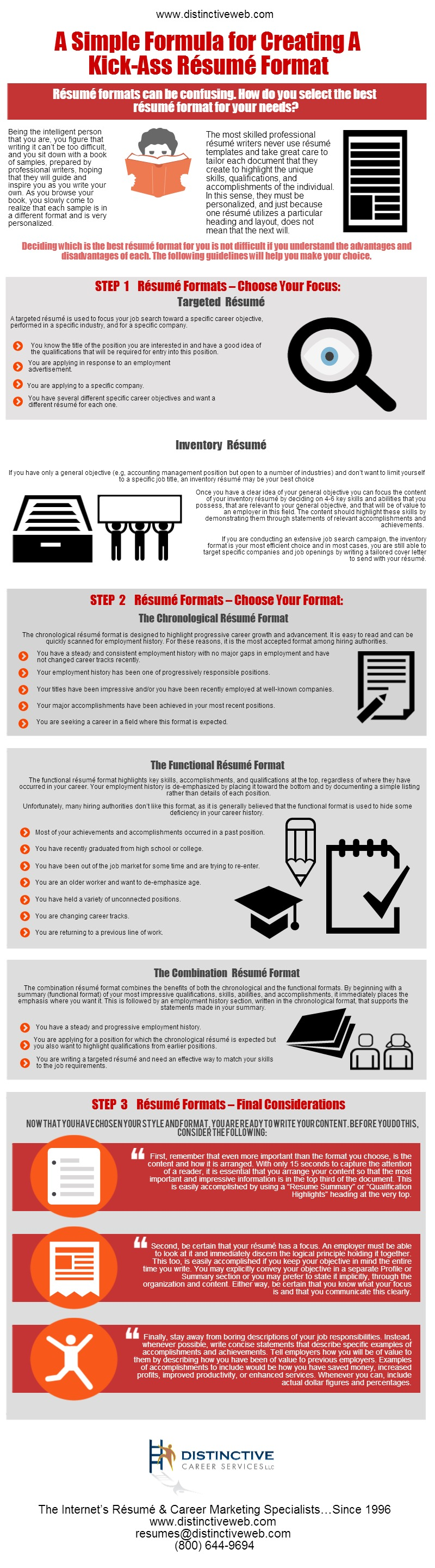 decide the best resume format for your needs with this infographic that details you guidelines that - Deciding On The Resume Format