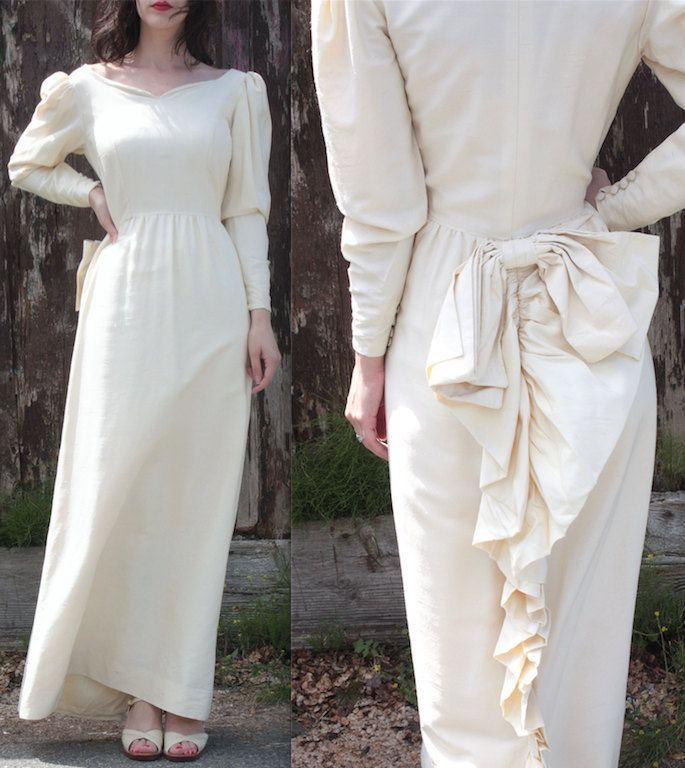 Vintage 1960s Dress // 60s Cream Dupioni Silk Edwardian Style Wedding Gown // Bustle Back Bow // Mutton Sleeves // DIVINE by TrueValueVintage on Etsy