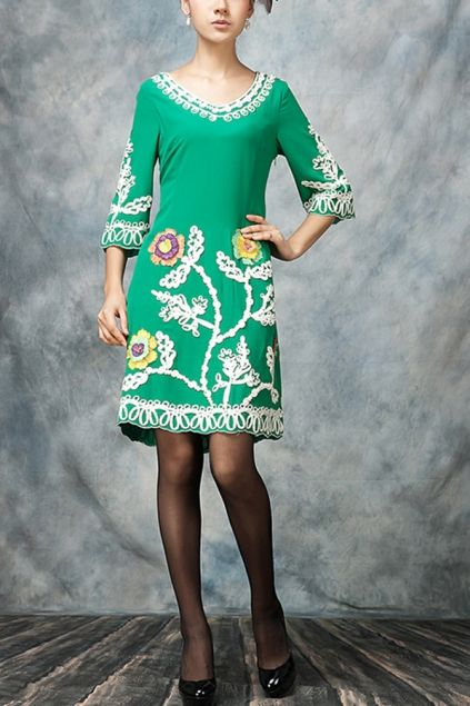 Exquisite Embroidered Three-quarter Sleeve Dress