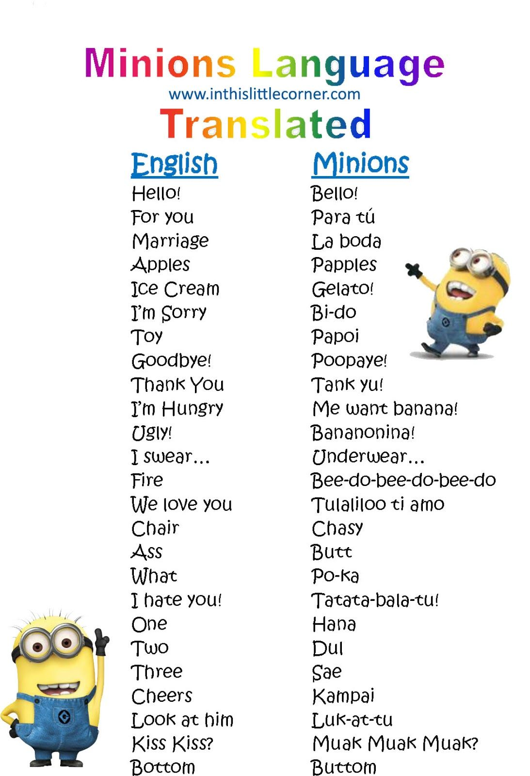 Free Minions Printable! Minions Despicable Me Language Translator   This Is  Just Too Cute. Print It For The Kids For The New Minions Movie!