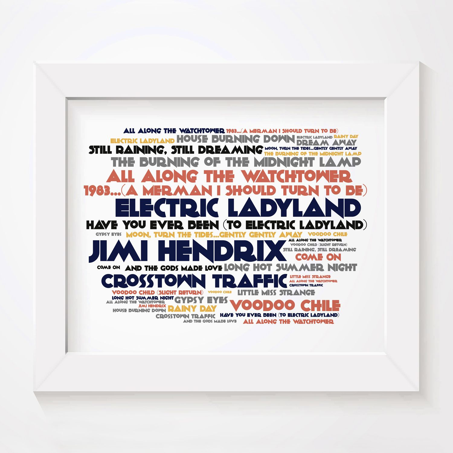 Jimi Hendrix Electric Ladyland Limited Edition Typography Lyrics