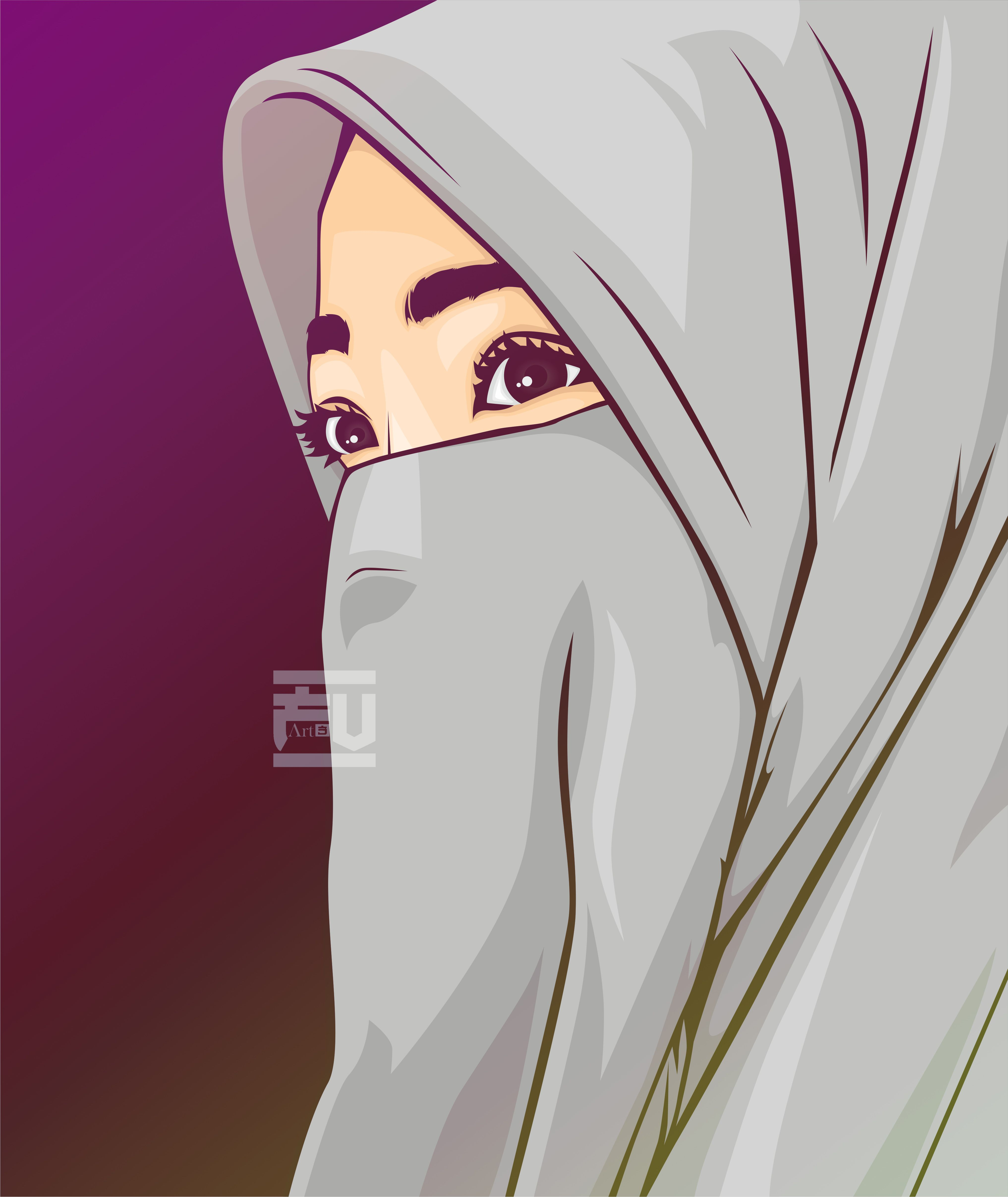 Vector Hijab Niqab Islami Animeler Jpg 4067x4828 Anime Muslimah Couples Family Pictures