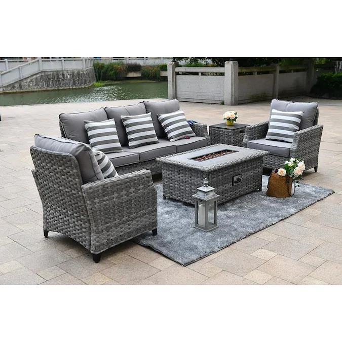 Moda Furnishings Paf 1802 5 Piece Metal Frame Patio Conversation Set With Moda Furnishings Cushion S Included Lowes Com In 2021 Outdoor Patio Furniture Sets Patio Furniture Sets Gas Firepit Outdoor conversation sets with fire pit