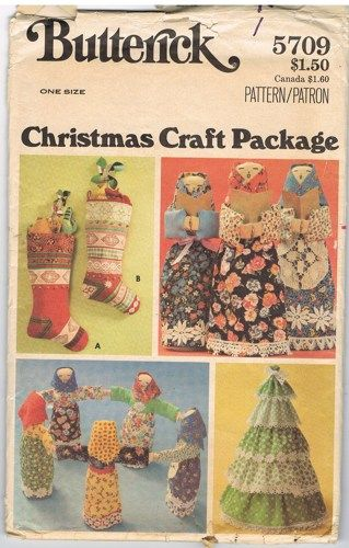 Vintage Butterick 5709 Christmas Craft Package | Craft packaging