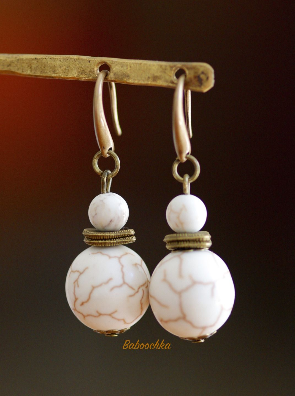 Boucles d'oreilles bronze magnésite du Kentucky : Boucles d'oreille par baboochka
