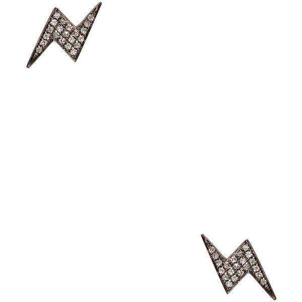 Shay Lightning Bolt Stud Earrings ($595) ❤ liked on Polyvore featuring jewelry, earrings, black, black stud earrings, 18 karat gold earrings, 18k jewelry, 18k earrings and lightning bolt jewelry