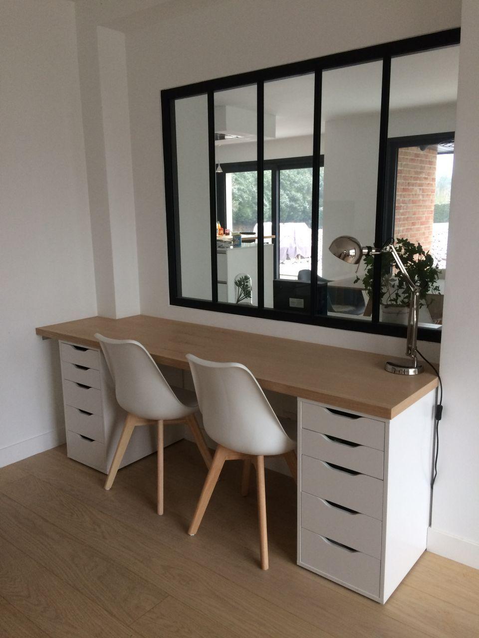 Installation du plateau en bois et montage du nouveau bureau  salon  Dcoration bureau Deco