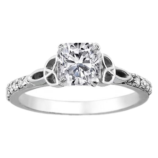Cushion Diamond Celtic Knot Engagement Ring With Diamond Accents In 14K  White Gold U003c