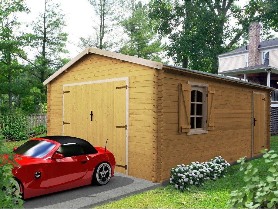 Garage Bois Savigny 2 Voitures 19 42 M Garage Leroy Merlin Garage Bois Garage Pour Voiture Et Garage