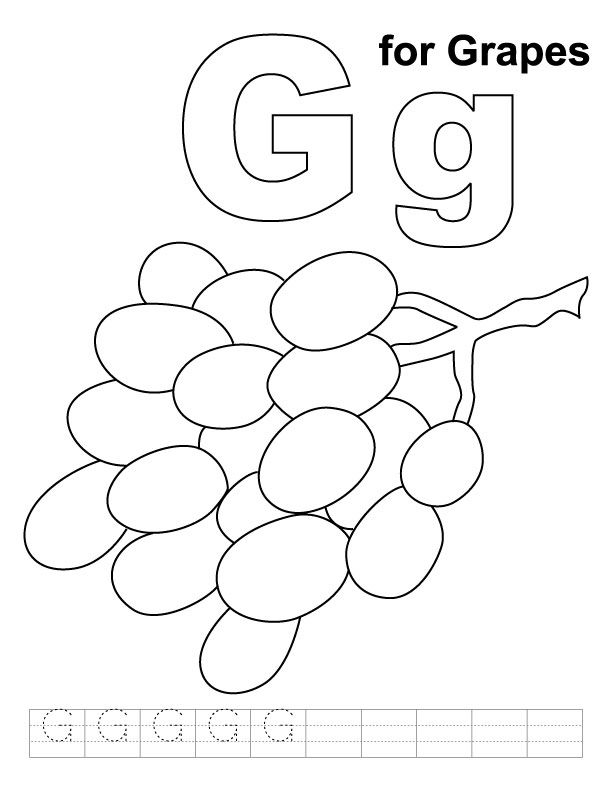 G For Grapes Coloring Page With Handwriting Practice Kids