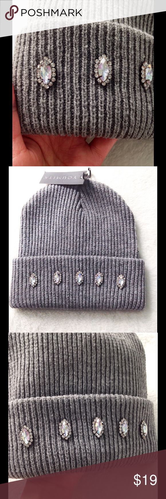 5ed8b127a20 rhinestones beanie🌈🌈🌈 rhinestones beanie diamond shape rhinestones🌈🌈💕💕💎💎  new never use with tag😊😊 one of a kind 🌷🌷 sephora Accessories Hats