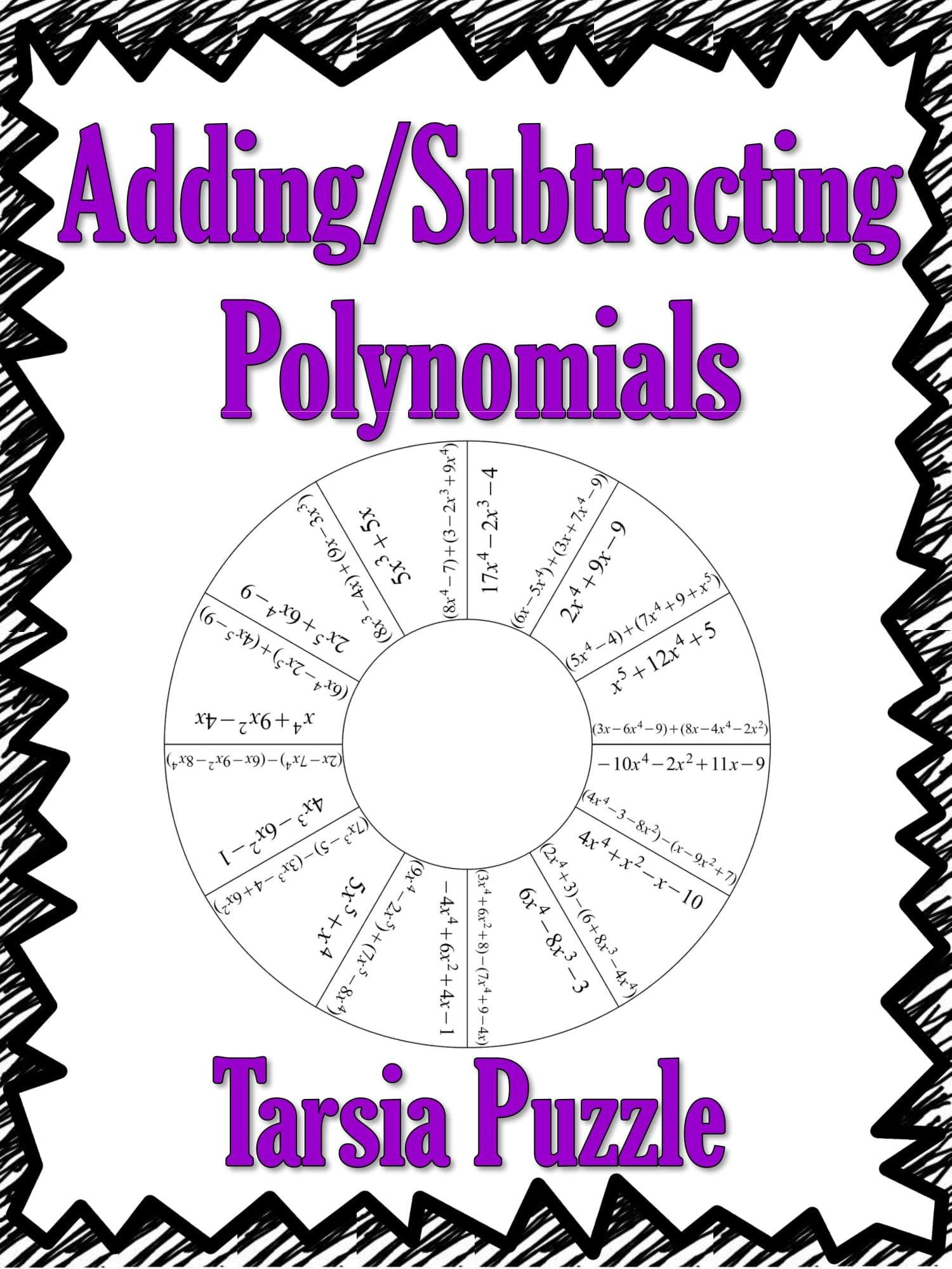 Adding And Subtracting Polynomials Tarsia Puzzle Freebie