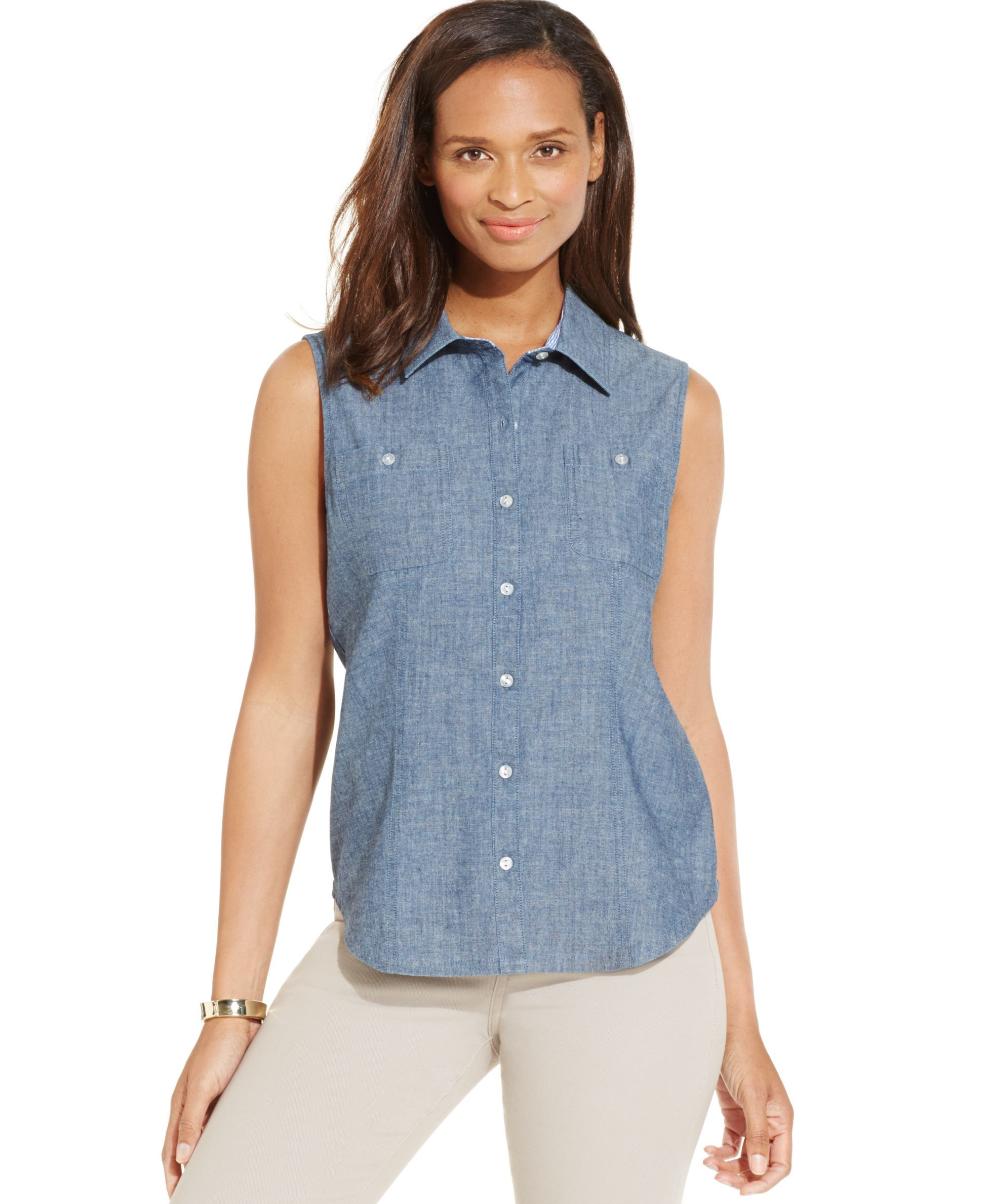 Karen Scott Sleeveless Chambray Button-Down Shirt | Products ...