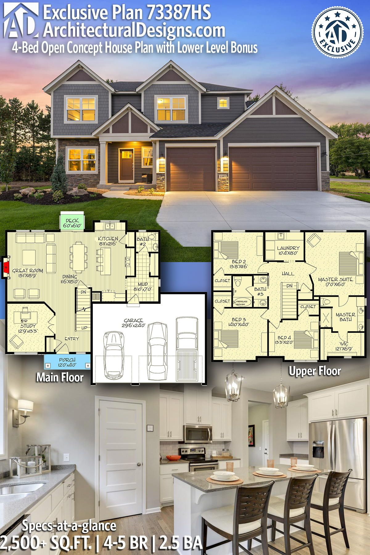 Plan 73387hs Exclusive 4 Bed Open Concept House Plan With