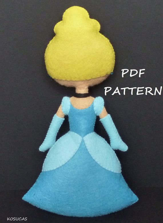PDF sewing pattern to make felt doll inspired in Cinderella ...