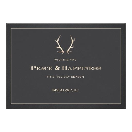 Faux gold deer antlers corporate holiday card smart professional faux gold deer antlers corporate holiday card smart professional company office holiday greeting m4hsunfo