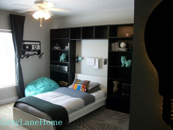 ikea teen boys bedroom | ... the bookshelves and bed from ikea for ...
