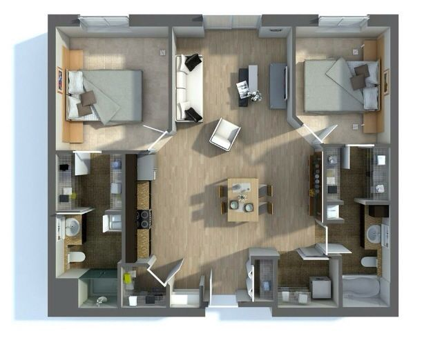50 Two 2 Bedroom Apartment House Plans Architecture Design Plan Kvartir Na Etazhe Proekty Nebolshih Domov Kvartira
