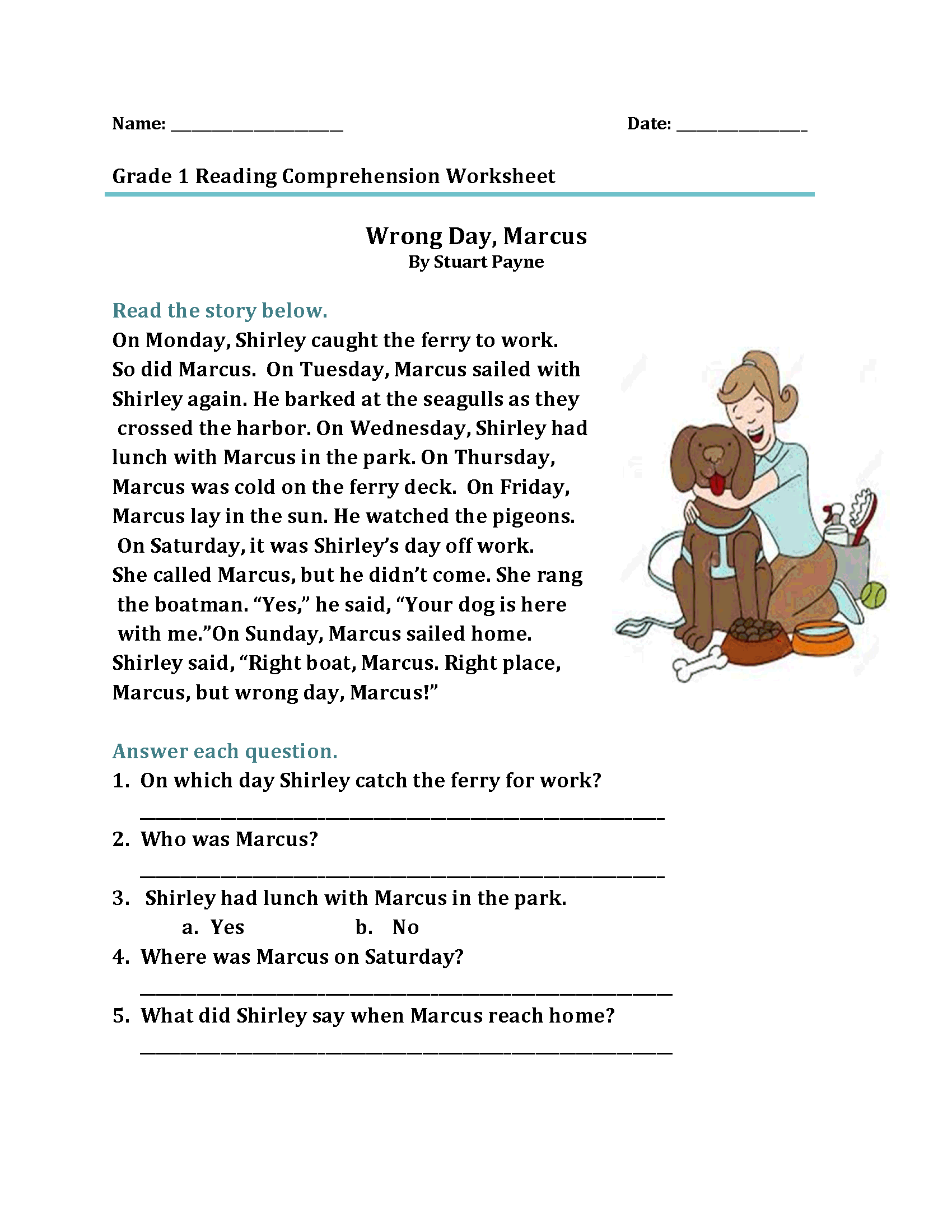 1st Grade Reading Worksheets For Grade 1