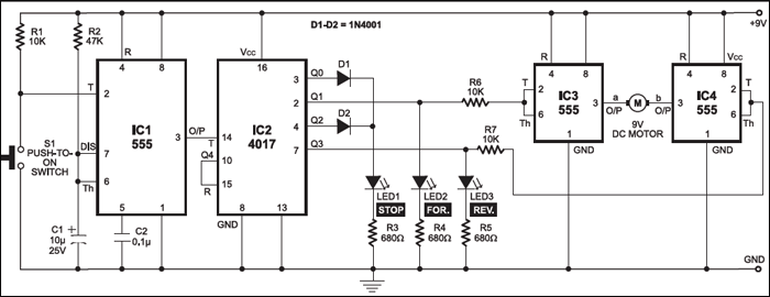 dc motor control using a single switch