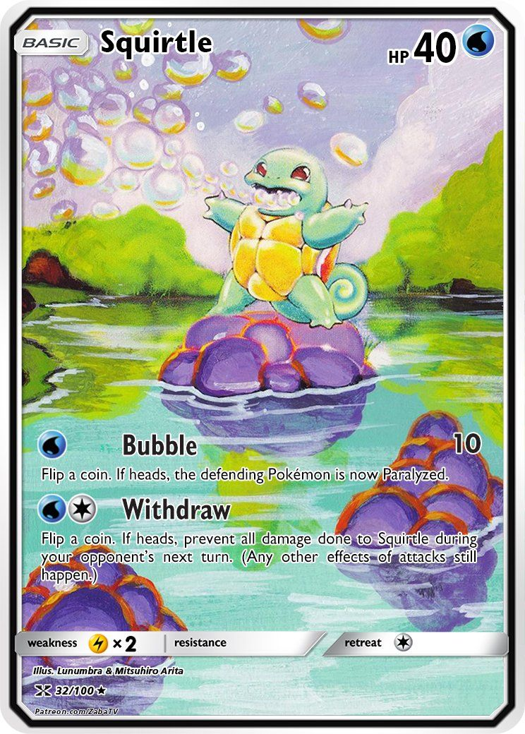 Pokemon Squirtle Gold Metal Custom Card